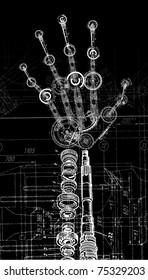 raster illustration of human hand of many mechanisms