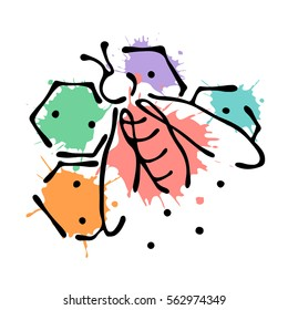 Raster illustration of insect Bee with honeycombs isolated on the white background Hand drawn contour lines and strokes Doodle style, graphic  illustration.