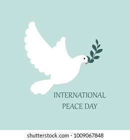 Raster illustration Interanal day of Peace. Dove of peace, olive branch and text.