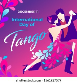 Raster illustration of international tango day in Argentina. Poster, banner for social media, background, art, flyer, invitation, brochure with dancing couple. The woman in the plumage pink dress.