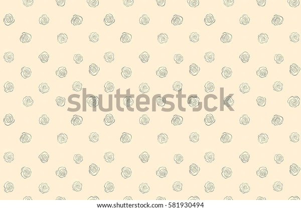 Raster illustration. Isolated beautiful flowers drawn watercolor in neutral colors. Tropical colorful seamless pattern. Seamless floral background.