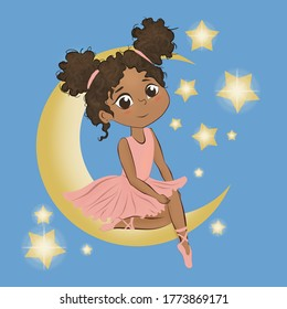 Raster illustration of a сute little ballerina. A dark-skinned girl in a pink dress sits on the moon.