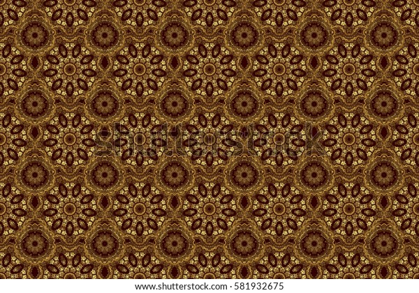 Raster illustration. Luxurious seamless pattern of golden ornament with stylized waves on a brown background.