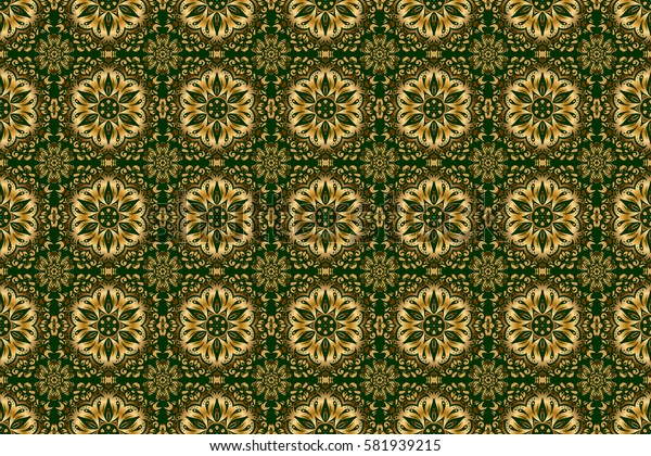 Raster illustration. Luxurious seamless pattern of golden ornament with stylized waves on a green background.
