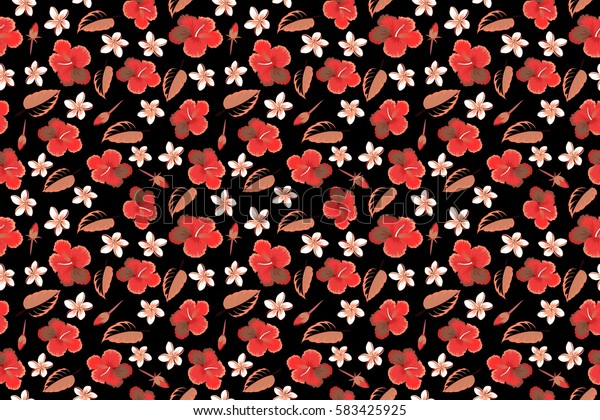 Raster illustration with many multicolor flowers on black background. Trendy multicolored seamless floral pattern.