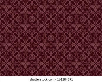 raster illustration of maroon seamless damask pattern