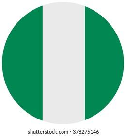 Raster illustration Nigeria flag raster icon. Round national flag of Nigeria. Nigeria flag button