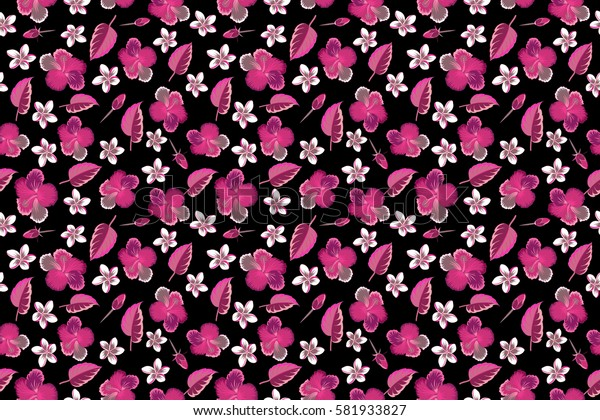 Raster illustration on black background. Summer hawaiian with multicolored tropical plants, hibiscus flowers and buds.