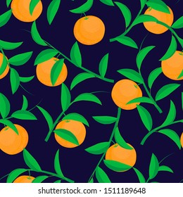 raster illustration. oranges orchard with leaves on navy blue background seamless repeat pattern. best for summer, spring prints and packaging.