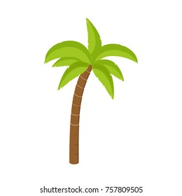Raster illustration palm tree isolated on white background. Coconut tree. Palm tree. Tourism, travel symbol, sign