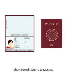 Raster illustration passport with biometric data. Identification Document.  international passport template with sample personal data page
