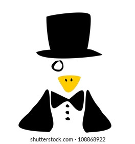 raster illustration of penguin with monocle and tuxedo wearing top hat
