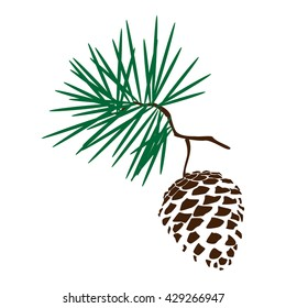 Raster illustration pinecone branch silhoutte icon. Pine cone wood nature