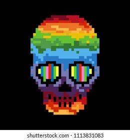 Raster illustration of pixel skull. Pixel art. 8 bit.