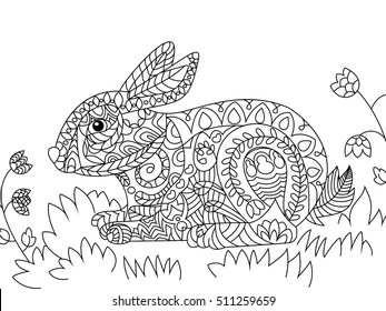 raster illustration rabbit zentangle ethcnic 260nw