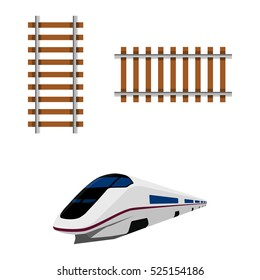 Raster illustration railway railroad track isolated on white background. Railroad element icon set, collection. Raster Modern high speed train. High speed rail