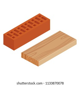 Raster illustration realstic isometric rasped wooden timber plank for building construction or floring. Wood board. Red brick block for building. Masonry equipment