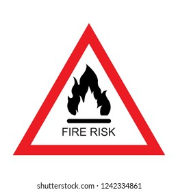 Raster illustration red and white Fire risk sign icon isolated on white background. Triangle sign. Danger or warning sign