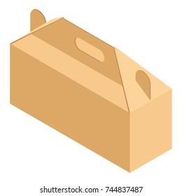 Raster illustration school lunchbox from cardboard. Lunchbox for school, student food.