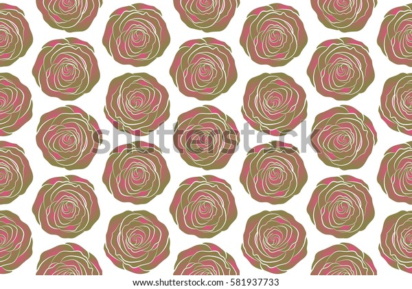 Raster illustration. Seamless background pattern. Roses neutral and pink on a white. Hand drawn elements.
