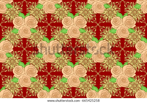 Raster illustration. Seamless background pattern with decorative rose flowers and green leaves on a red background.