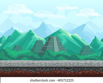 Raster illustration seamless background of the pyramid in the emerald mountains. For mobile game user interface, newsletters, brochures, ads, business cards, greeting cards, catalogs.