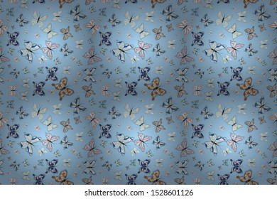 Raster illustration. Seamless pattern background with insect. Abstract seamless pattern for clothes, boys, girls, wallpaper. Different beautiful butterflies flying for coloring book.