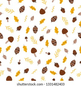 Raster illustration. Seamless pattern. Brown leaves and mushrooms, yellow oak leaves, yellow branches with leaves, brown cones and acorns on a white background.