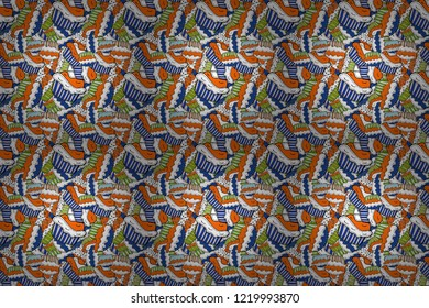 Raster illustration. Seamless pattern of cupcakes on a white, orange and black background. Wrapping paper.