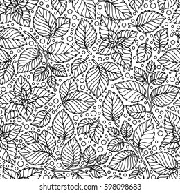 Seamless Pattern Of Mint Leaves Black And White Graphics Linear Hand