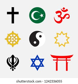 Raster illustration set of Religious symbols.