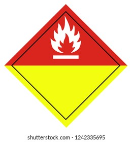 Raster illustration sign for burning or organic peroxides pictogram isolated on white background