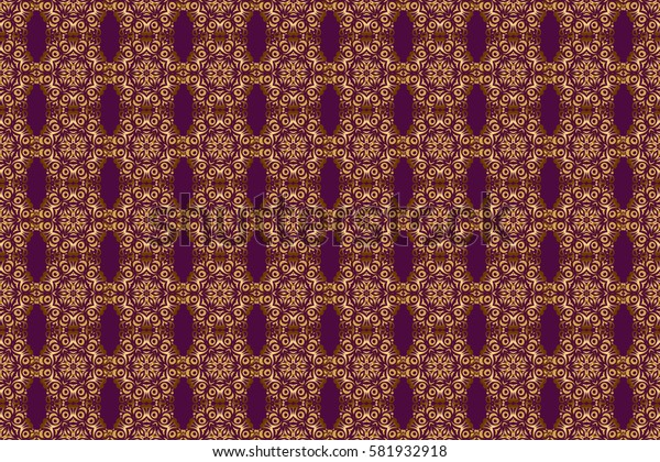 Raster illustration. Simple seamless pattern - gold stars on a purple background. Vintage ornament.