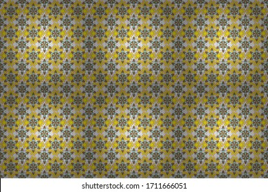 Raster illustration. Small flowers seamless pattern in yellow, white and brown colors. Raster multicolored branches with flowers.