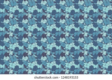 Raster illustration. Spring paper with abstract cute hibiscus flowers in violet and blue colors. Floral seamless pattern.