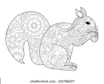 Raster Illustration Of The Squirrel With Nut In Zentangle And Ethcnic Style Tattoo Coloring