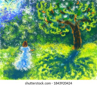 Raster illustration in the style of impressionism in an unusual technique: a girl in a long dress walks in a spring, summer green garden near a tall beautiful spreading tree with a lace shadow.
