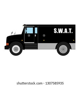 raster illustration. Swat vehicle realistic hi- detailed isolated on white background. Armored transport