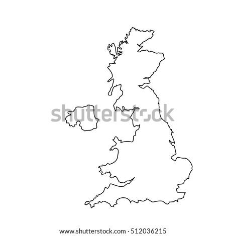 Raster Illustration Uk Map Outline Drawing Stock ...