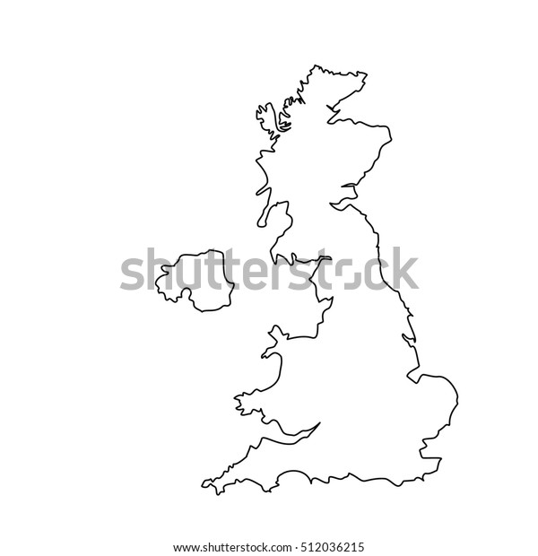Map Of England Drawing.Raster Illustration Uk Map Outline Drawing Stock Illustration 512036215