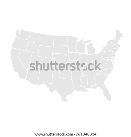 Raster Illustration USA Map States Territories Stock Illustration ...