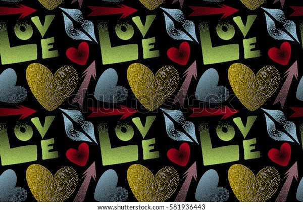 Raster illustration. Valentine's day seamless pattern with kiss, love word and hearts on a black background. Abstract design in red and yellow colors.