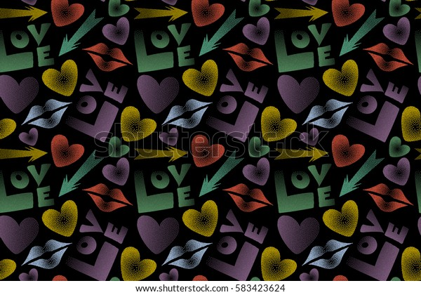 Raster illustration. Valentine's day seamless pattern with kiss, love word and hearts on a black background. Abstract design in green, yellow and purple colors.