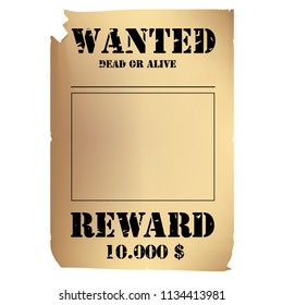 Wanted Poster Showing Reward Money Stock Vector Royalty Free