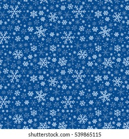 Raster illustration. Winter doodles hand drawn snowflakes seamless pattern. Cute, simple   snowflakes for postcard design for textile, wrapping paper, hand drawn style christmas  backgrounds.