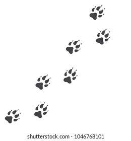 Raster illustration. Wolf Paw Prints Track Logo. Black on White background. Animal paw print with claws.