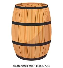 raster illustration wooden oak barrel isolated on white background