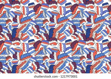 Raster illustration. Wrapping paper. Seamless bright birthday pattern on white, blue and pink. Cake, cap, cone.
