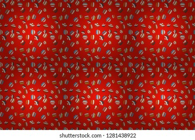 Raster illustration. Wrapping paper. Seamless pattern of cupcakes on a red, orange and white background.