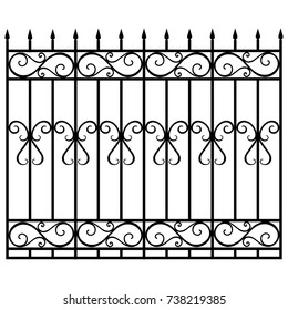 Raster illustration wrought iron modular railing and fence. Vintage gate with swirls. Black forged fence
